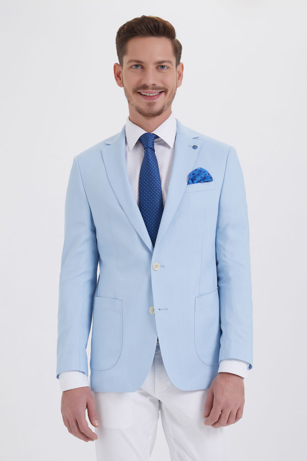Açık Mavi Slim Fit Blazer Ceket