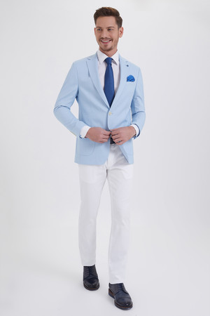 Açık Mavi Slim Fit Blazer Ceket - Thumbnail