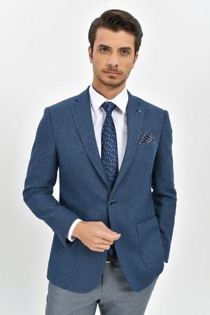 Mavi Slim Fit Desenli Blazer Ceket - Thumbnail