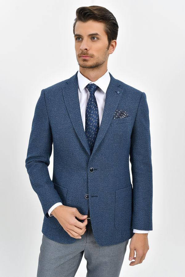Mavi Slim Fit Desenli Blazer Ceket