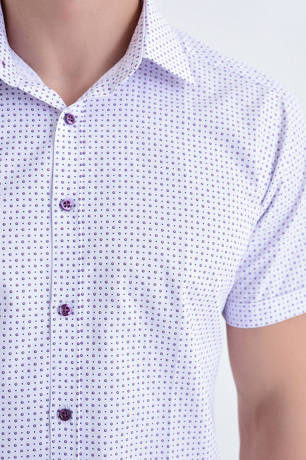 Kısa Kol Mor Desenli Slim Fit Gömlek