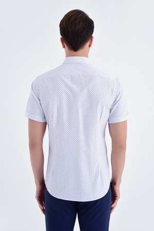 Kısa Kol Mor Desenli Slim Fit Gömlek - Thumbnail