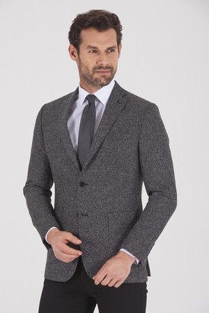 Gri Slim Fit Desenli Klasik Ceket