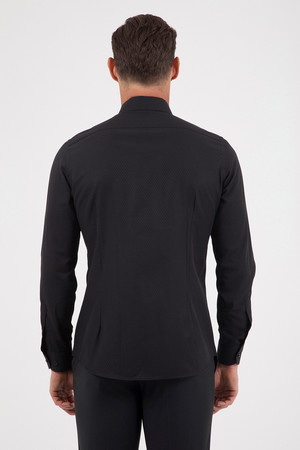 Desenli Slim Fit Siyah Gömlek - Thumbnail