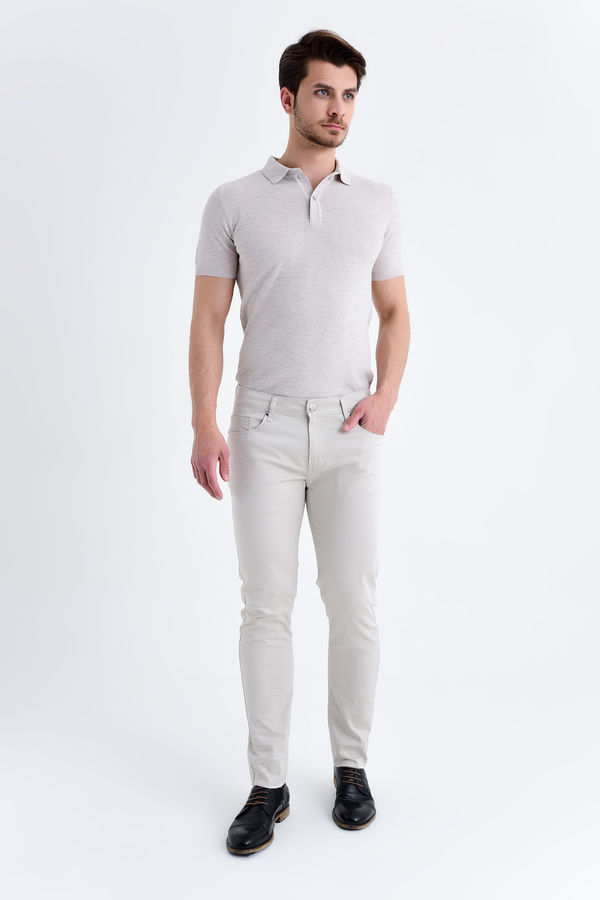 Bej Desenli Slim Fit Pantolon