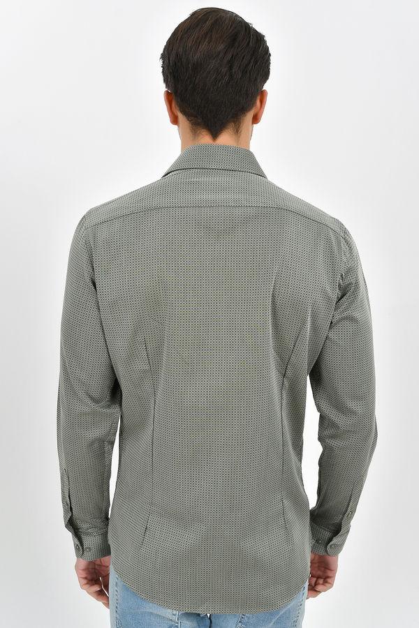 Desenli Slim Fit Yeşil Gömlek