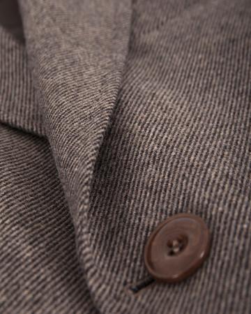 Desenli Yünlü Kahverengi Palto - Thumbnail
