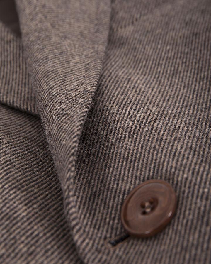 Desenli Yünlü Kahverengi Palto