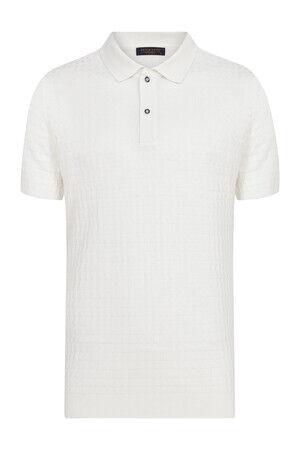 Ekru Desenli Polo Yaka Tişört