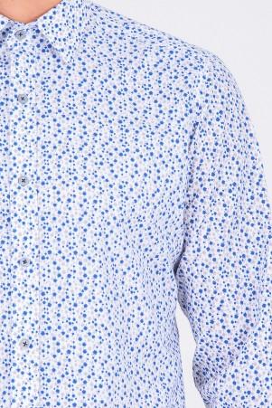 Gri Baskılı Slim Fit Gömlek - Thumbnail