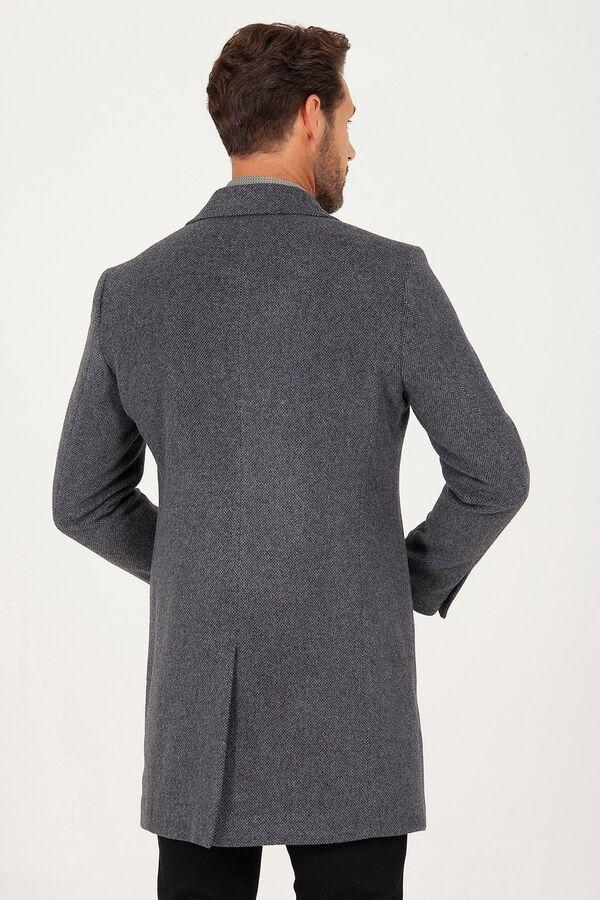 Gri Kırlangıç Yaka Yünlü Palto