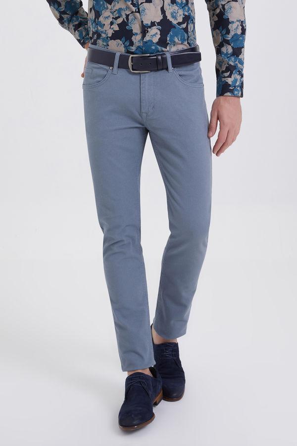 Gri Desenli Slim Fit Pantolon