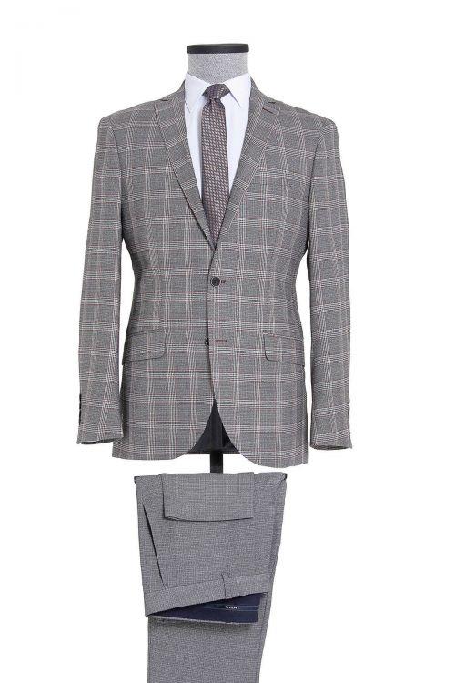 Gri Kareli Slim Fit Takım Elbise