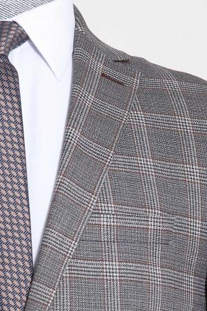 Gri Kareli Slim Fit Takım Elbise - Thumbnail