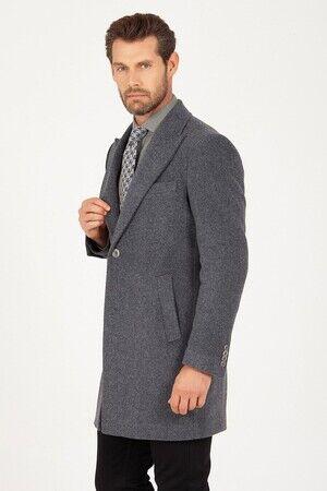 Gri Kırlangıç Yaka Yün Palto