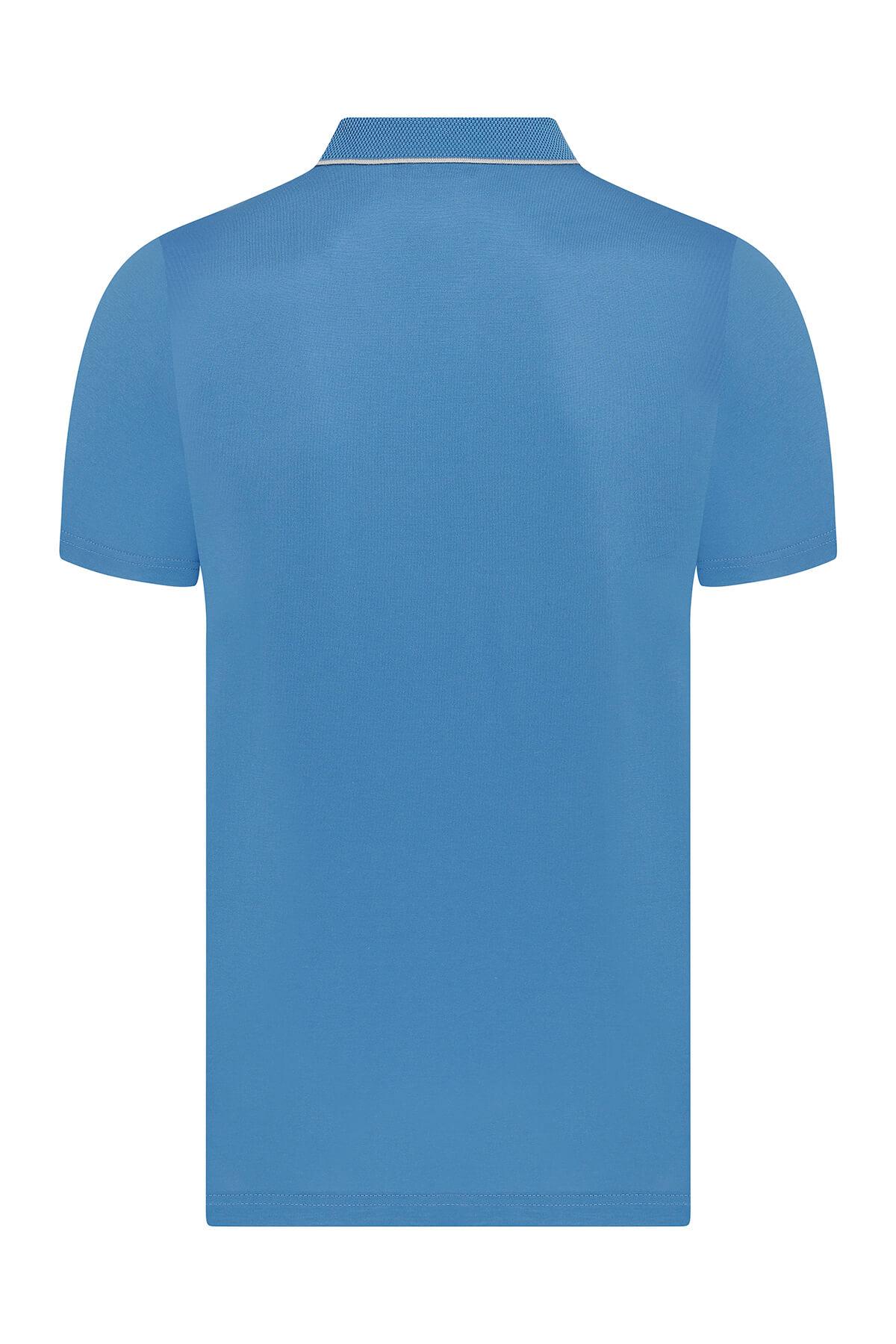 Mavi Polo Yaka Tişört - Thumbnail