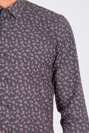 Haki Baskılı Slim Fit Gömlek - Thumbnail