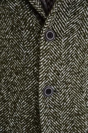 Haki Yünlü Desenli Palto - Thumbnail
