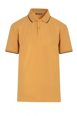 Hardal Baskılı Polo Yaka Tişört - Thumbnail