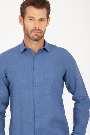 Mavi Desenli Regular Fit Keten Gömlek - Thumbnail