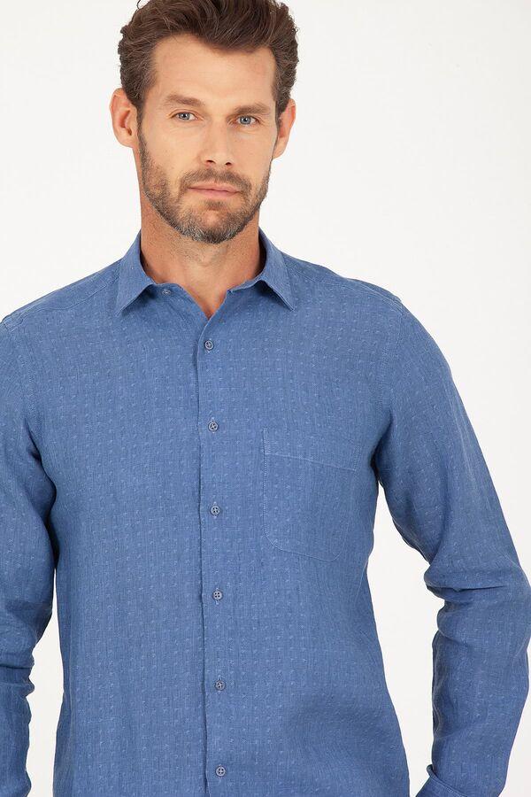 Mavi Desenli Regular Fit Keten Gömlek