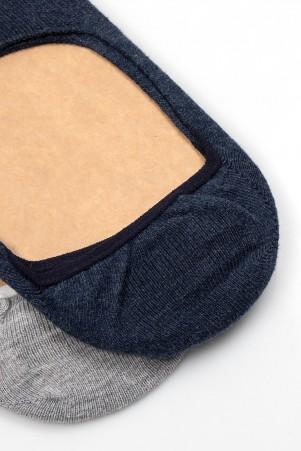 İndigo - Gri 2'li Görünmez Çorap - Thumbnail