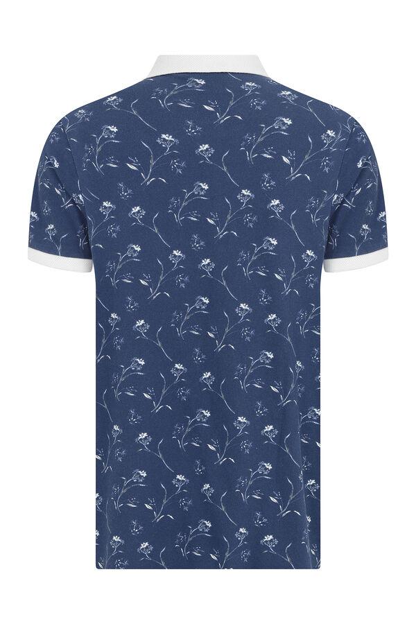 İndigo Baskılı Polo Yaka Tişört