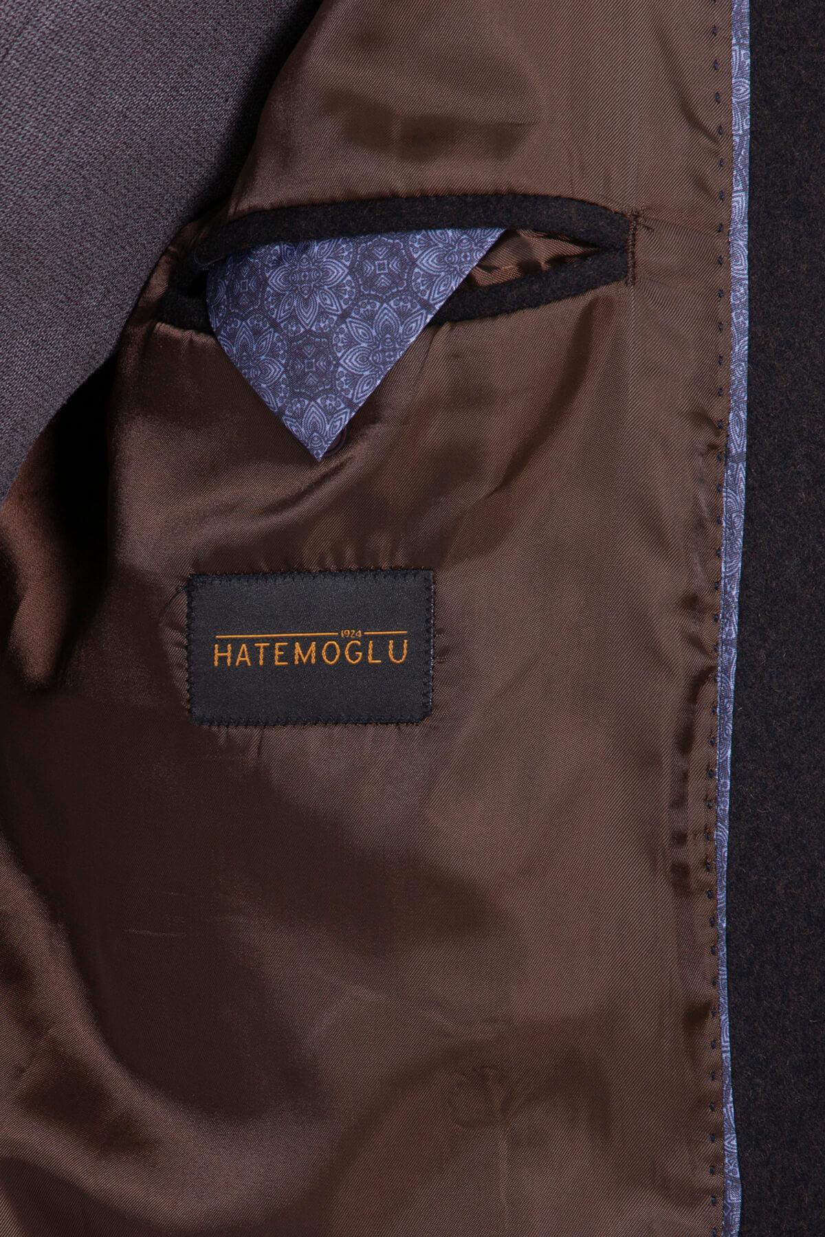 Kahveregi Ceket Yaka Yün Palto