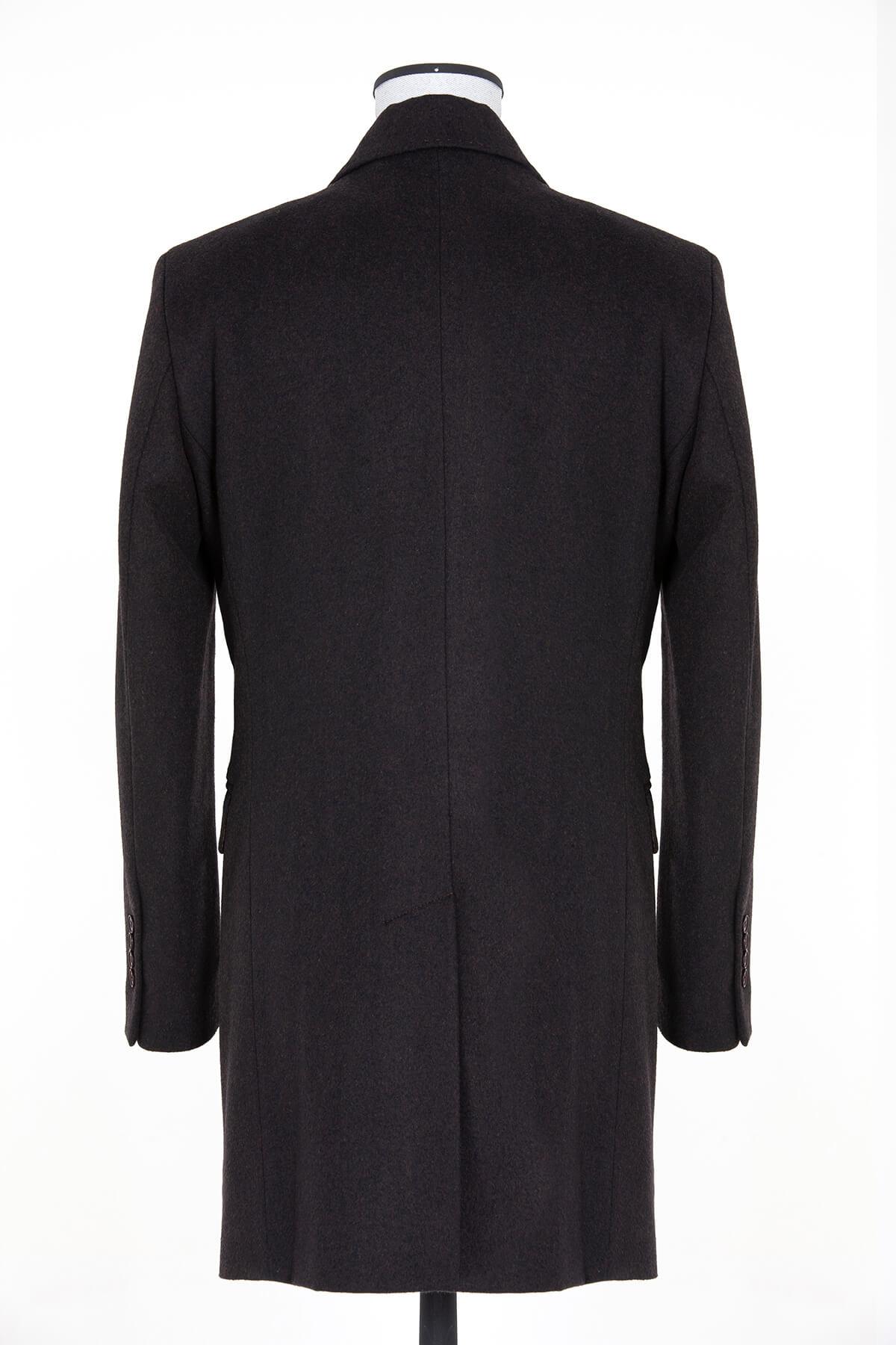 Kahveregi Ceket Yaka Yün Palto - Thumbnail