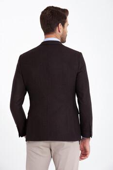 Kahverengi Balıksırtı Desenli Slim Fit Ceket - Thumbnail