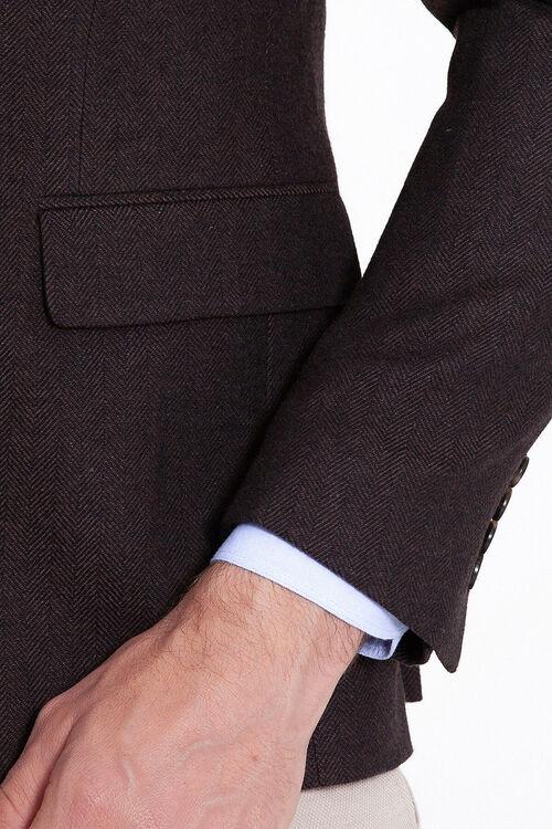 Kahverengi Balıksırtı Desenli Slim Fit Ceket