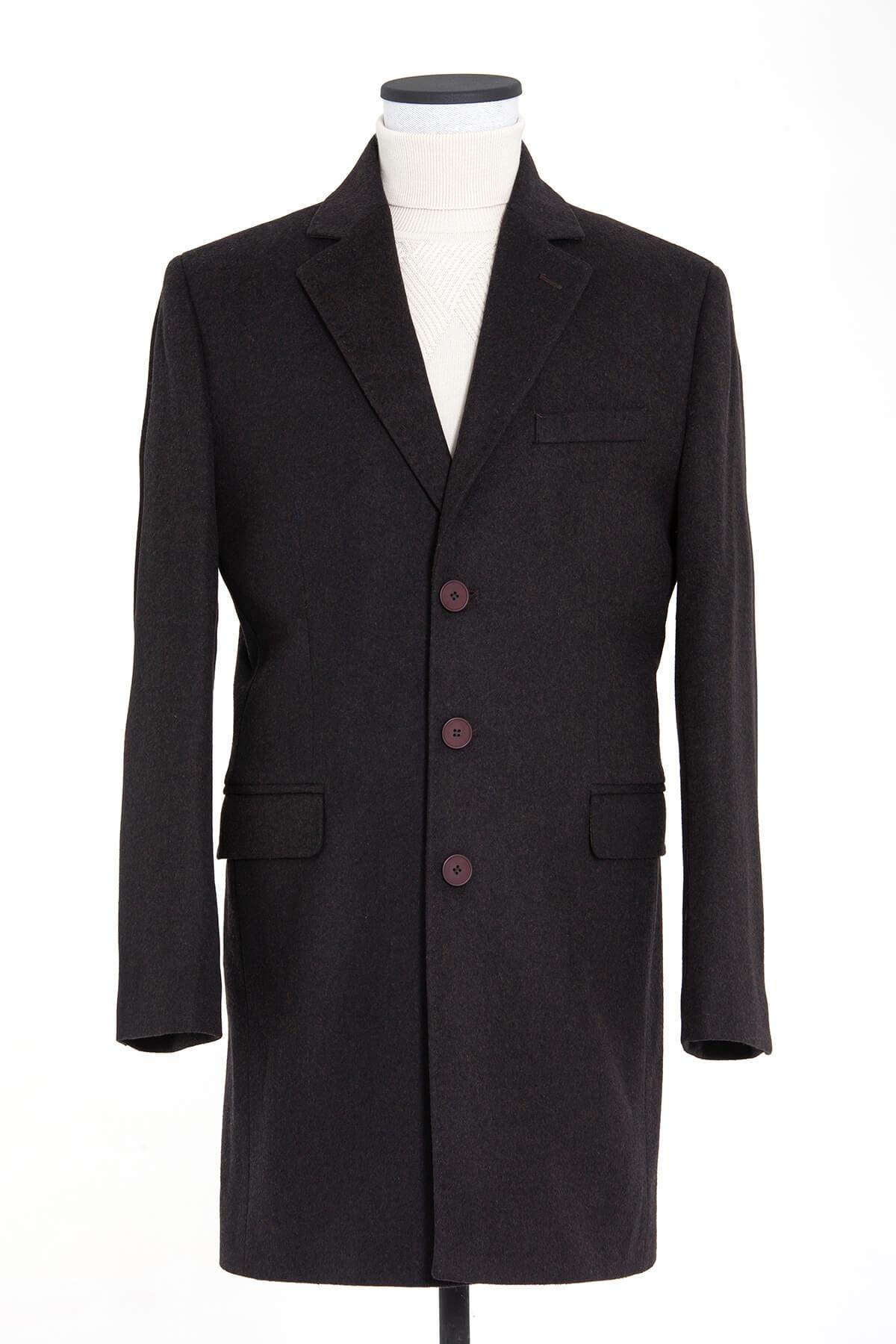 Kahveregi Ceket Yaka Palto