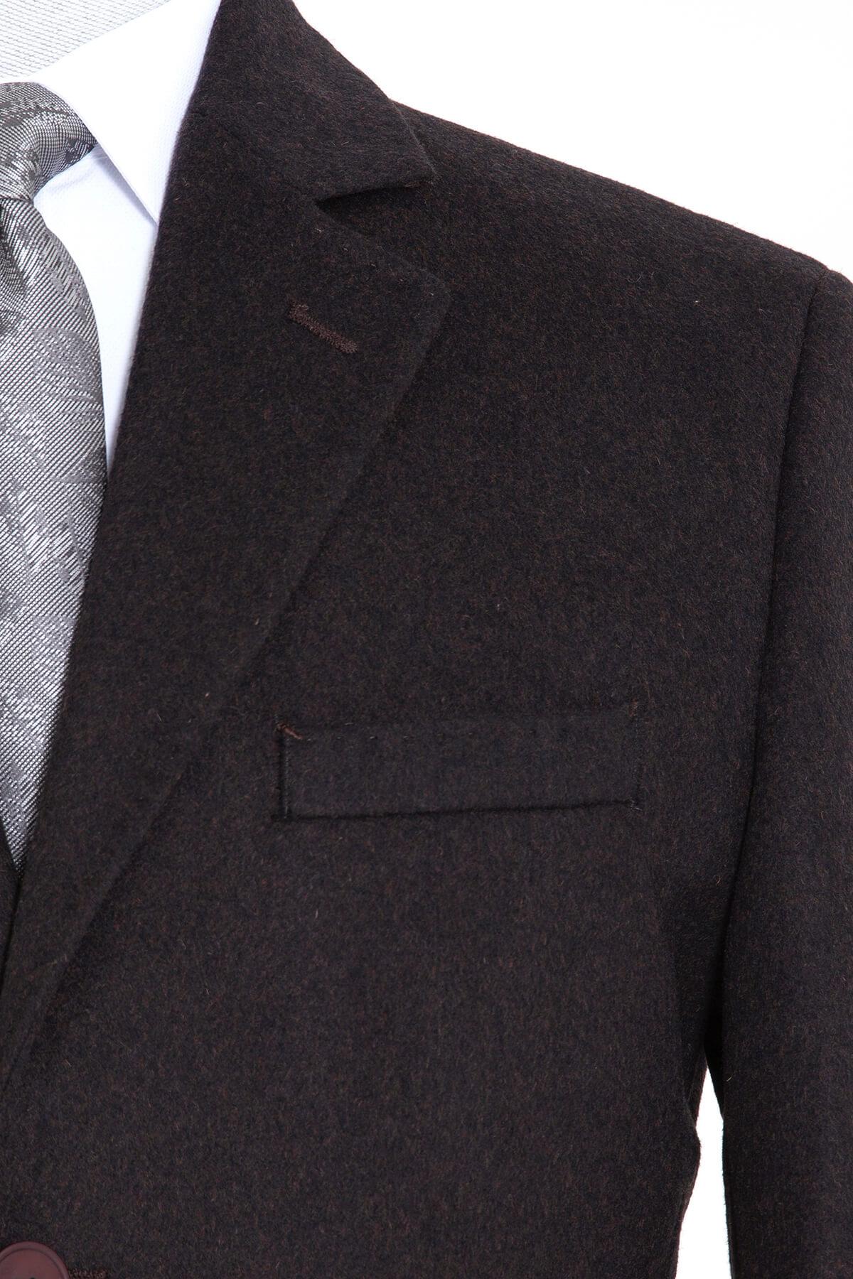 Kahveregi Ceket Yaka Yünlü Palto