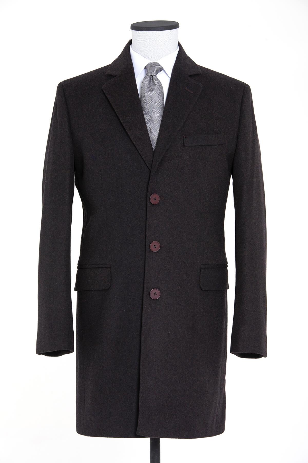 Kahveregi Ceket Yaka Yünlü Palto - Thumbnail
