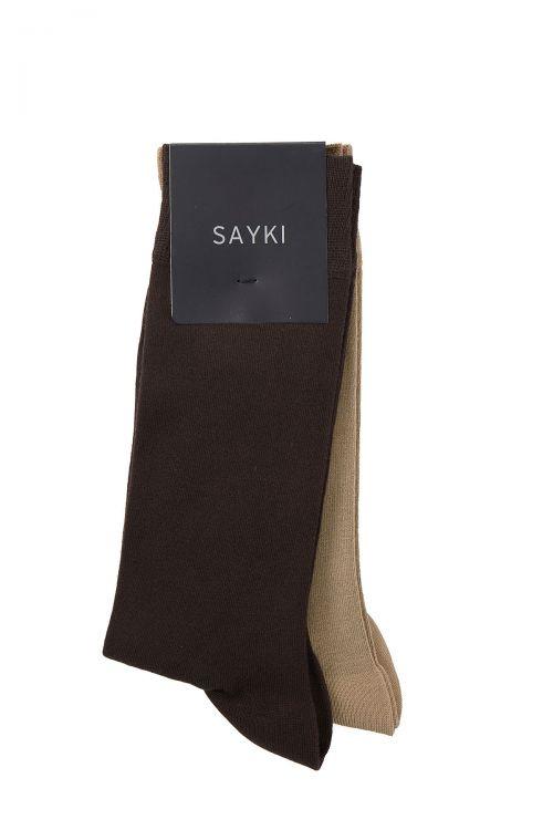 Kahverengi - Bej 2'li Soket Çorap