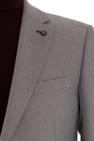Kahverengi Desenli Slim Fit Ceket - Thumbnail