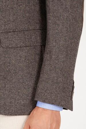 Kahverengi Slim Fit Yünlü Ceket - Thumbnail
