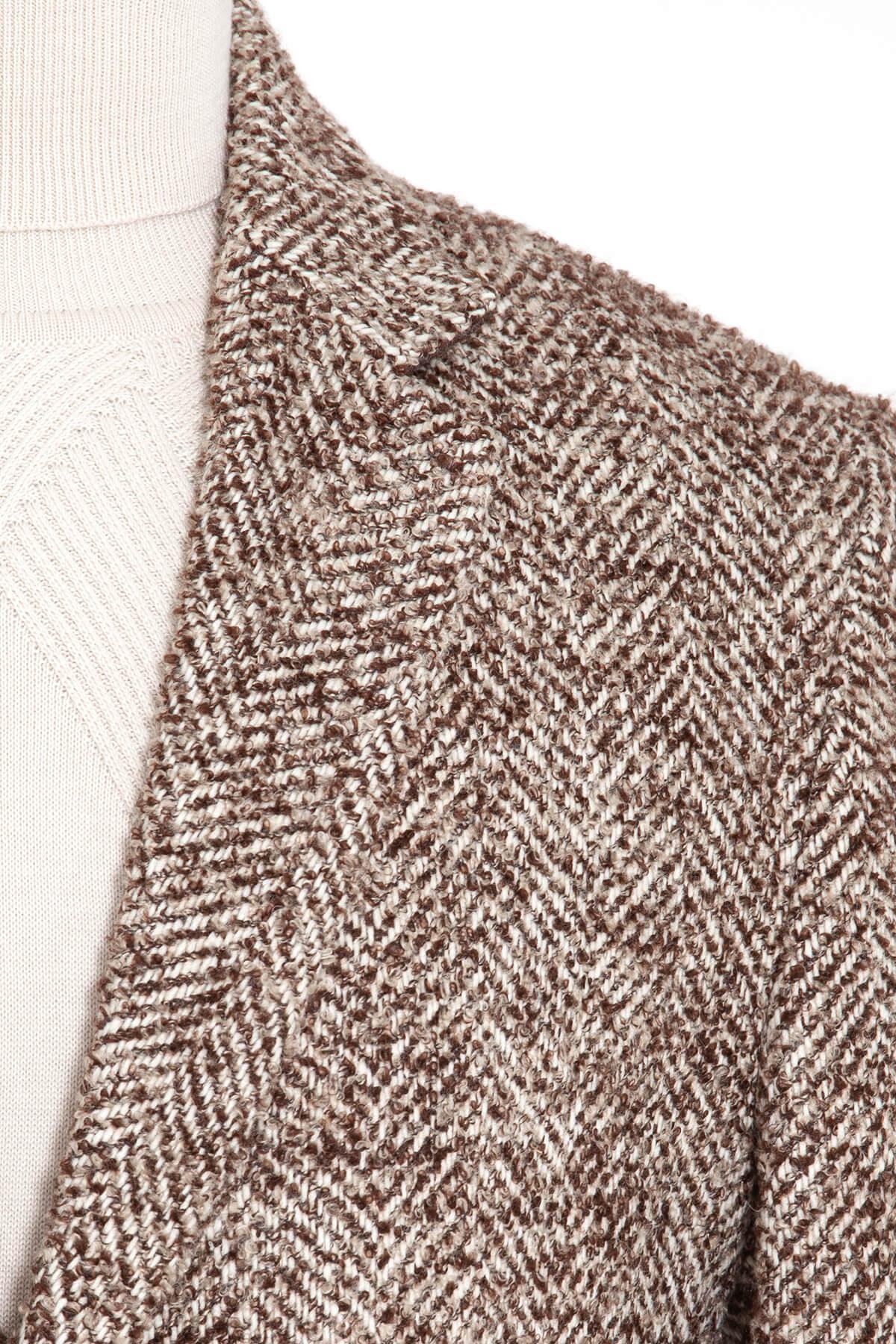 Kahverengi Balıksırtı Desenli Palto