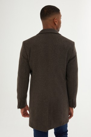 Kahverengi Kırlangıç Yaka Yün Palto - Thumbnail