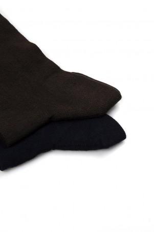 Kahverengi - Lacivert 2'li Soket Çorap - Thumbnail