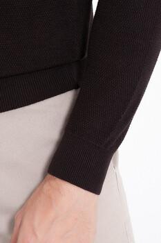 Kahverengi Polo Yaka Triko Kazak - Thumbnail