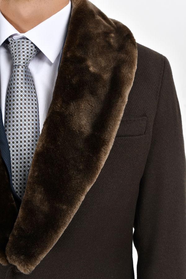 Kahverengi Yakası Kürklü Yünlü Palto
