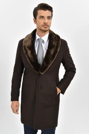 Kahverengi Yakası Kürklü Yünlü Palto - Thumbnail