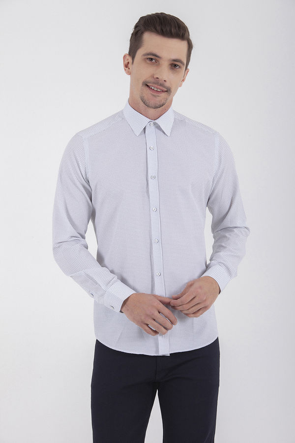 Lacivert Kareli Slim Fit Gömlek