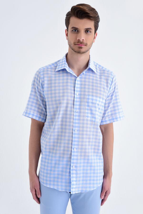 Kareli Kısa Kol Klasik Mavi Gömlek