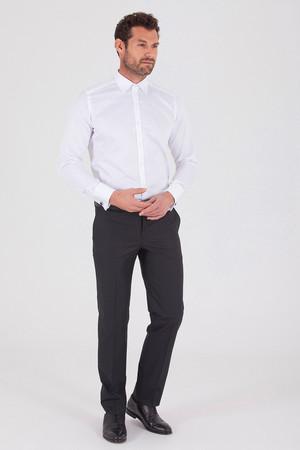 Siyah Pötikareli Klasik Fit Kumaş Pantolon - Thumbnail