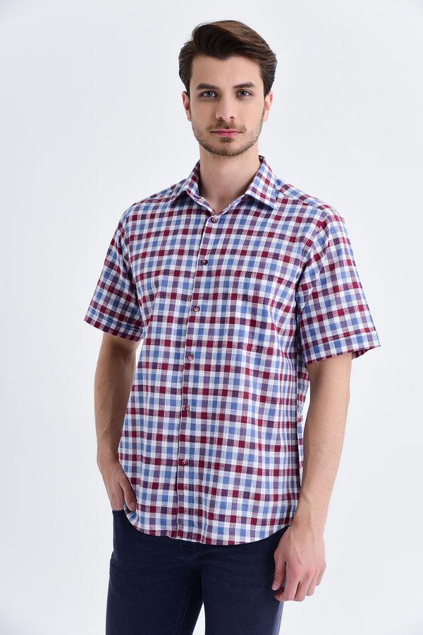 Kareli Slim Fit Bordo Gömlek