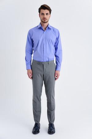 Gri Pötikareli Slim Fit Kumaş Pantolon - Thumbnail