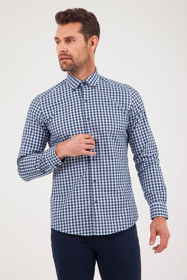 Kareli Slim Fit Lacivert Gömlek