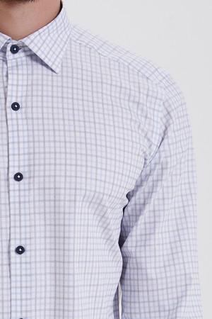 Kareli Slim Fit Mavi Gömlek - Thumbnail